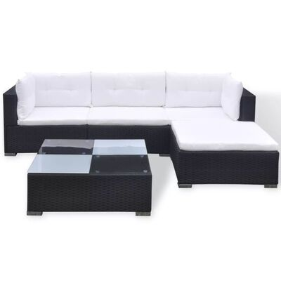 vidaXL 5-tlg. Garten-Lounge-Set mit Auflagen Poly Rattan Schwarz