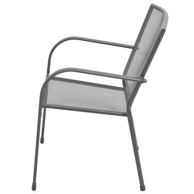 vidaXL Stapelbare Gartenstühle 2 Stk. Stahl Grau