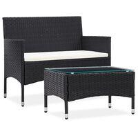 vidaXL 2-tlg. Garten-Lounge-Set mit Auflage Poly Rattan Schwarz