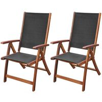 vidaXL Gartenstühle 2 Stk. Akazie Massivholz und Textilene