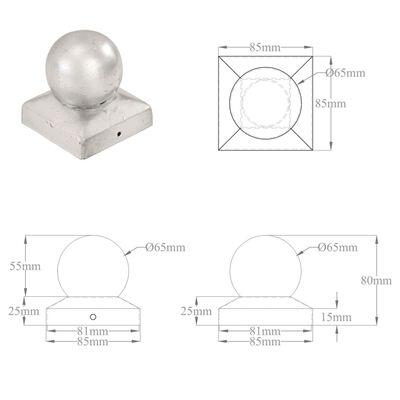 vidaXL Pfostenkappen 6 Stk. Kugelform Verzinktes Metall 81 x 81 mm