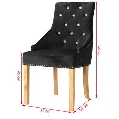 vidaXL Esszimmerstühle 4 Stk. Schwarz Massivholz Eiche und Samt