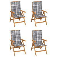 vidaXL Verstellbare Gartenstühle mit Auflagen 4 Stk. Massivholz Teak