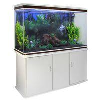 Aquarium Komplettset mit weißem Unterschrank & schwarzem Kies
