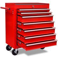 Roter Werkstattwagen 7 Schubladen