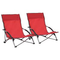 vidaXL Klappbare Strandstühle 2 Stk. Rot Stoff