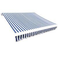 vidaXL Markisenbespannung Canvas Blau & Weiß 4 x 3 m (ohne Rahmen)