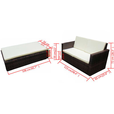 vidaXL 2-tlg. Garten-Lounge-Set mit Auflagen Poly Rattan Braun