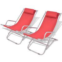 vidaXL Liegestühle 2 Stk. Stahl Rot