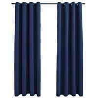 vidaXL Verdunkelungsvorhänge mit Metallösen 2 Stk. Blau 140x245cm