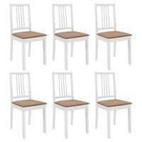 vidaXL Esszimmerstühle mit Polstern 6 Stk. Weiß Massivholz
