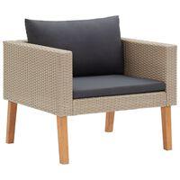 vidaXL 1-Sitzer-Gartensofa mit Auflagen Poly Rattan Beige