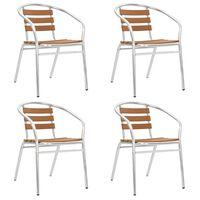 vidaXL Stapelbare Gartenstühle 4 Stk. Aluminium und WPC Silbern