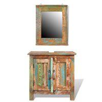 Badmöbel Waschbeckenunterschrank mit Spiegel Massivholz