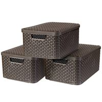 Curver Style Aufbewahrungsbox mit Deckel 3 Stk. M Braun 240655