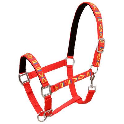 vidaXL Pferdehalfter 2 Stück Nylon Größe Warmblut Rot