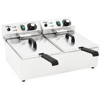 vidaXL Doppelte Elektro-Fritteuse Edelstahl 20 L 6000 W