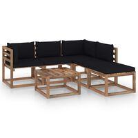 vidaXL 6-tlg. Garten-Sofagarnitur aus Paletten mit Kissen Kiefernholz