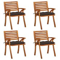 vidaXL Gartenstühle mit Kissen 4 Stk. Massivholz Akazie