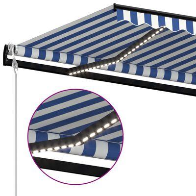 vidaXL Automatische Markise mit LED & Windsensor 450x300 cm Blau Weiß