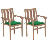 vidaXL Gartenstühle 2 Stk. mit Grünen Kissen Teak Massivholz