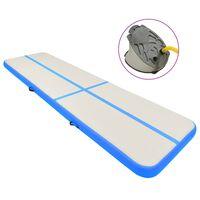 vidaXL Aufblasbare Gymnastikmatte mit Pumpe 600x100x20 cm PVC Blau