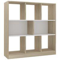 vidaXL Bücherregal Weiß und Sonoma-Eiche 97,5×29,5×100 cm Spanplatte
