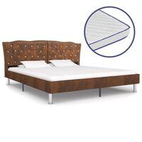 vidaXL Bett mit Memory-Schaum-Matratze Braun Stoff 160×200 cm