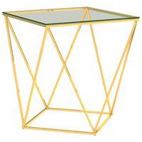 vidaXL Couchtisch Golden und Transparent 50x50x55 cm Edelstahl
