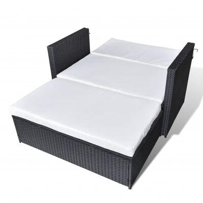 vidaXL 2-tlg. Garten-Lounge-Set mit Auflagen Poly Rattan Schwarz