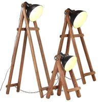 vidaXL Stehlampen 3 Stk. Schwarz E27 Mango Massivholz