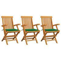 vidaXL Gartenstühle mit Grünen Kissen 3 Stk. Massivholz Teak