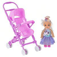 puppe mit Puppenwagen 10 cm rosa/lilac