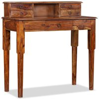 vidaXL Schreibtisch mit 5 Schubladen Massivholz 90x40x90 cm