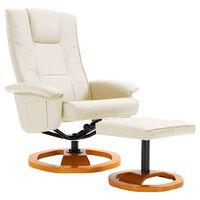 vidaXL Drehbarer TV-Sessel mit Fußhocker Creme Kunstleder