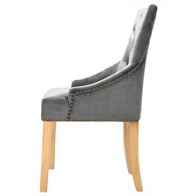 vidaXL Esszimmerstühle 2 Stk. Silbern Eiche Massivholz und Samt