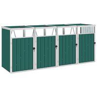 vidaXL Mülltonnenbox für 4 Mülltonnen Grün 286×81×121 cm Stahl