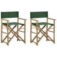 vidaXL Klappbare Regiestühle 2 Stk. Grün Bambus und Stoff