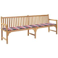 vidaXL Gartenbank mit Auflage Rot Karomuster 240 cm Massivholz Teak