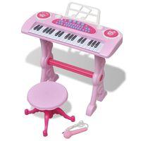 Kinder Keyboard Spielzeug Piano mit Hocker/Mikrofon 37 Tasten Rosa