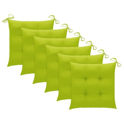 vidaXL Batavia-Stühle mit Kissen 6 Stk. Massivholz Teak, Bright_green