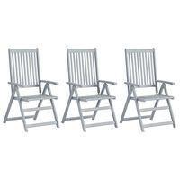 vidaXL Verstellbare Gartenstühle 3 Stk. Grau Massivholz Akazie
