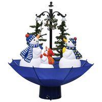 vidaXL Weihnachtsbaum mit Schnee und Schirm-Fuß Blau 75 cm PVC