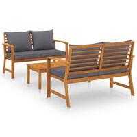 vidaXL 3-tlg. Garten-Lounge-Set mit Auflagen Massivholz Akazie