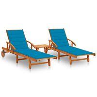 vidaXL Sonnenliegen 2 Stk. mit Tisch und Auflagen Massivholz Akazie