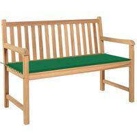 vidaXL Gartenbank mit Grüner Auflage 120 cm Massivholz Teak
