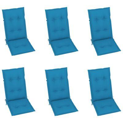 vidaXL Gartenstühle 6 Stk. mit Blauen Kissen Massivholz Teak