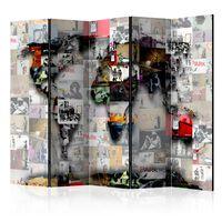 5-teiliges Paravent - Room divider – World map – Banksy - 225x172 cm