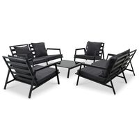 vidaXL 5-tlg. Garten-Lounge-Set mit Auflagen Aluminium Dunkelgrau