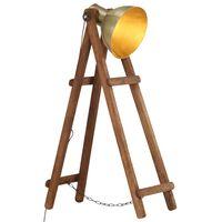 vidaXL Stehlampe Messing E27 Mango Massivholz